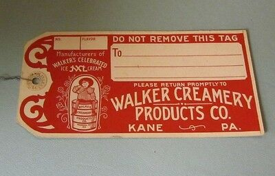 Vintage 1920's Walker Creamery Ice Cream Products Advertising Tag Warren Kane PA