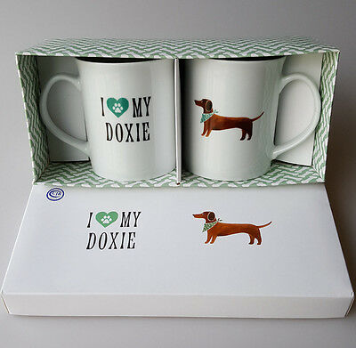 I Love My Doxies 2 mug gift set by Fringe dachshunds wiener dogs in box 12oz