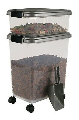 Dog Cat Food Storage Combo Treats Airtight Fresh Pet Food Container  Wheels