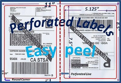 300 Perforated Rounded Corner Shipping Labels 2 Per Sheet-8.5 x 11-Self Adhesive