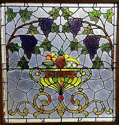 "VICTORIAN FRUITBOWL STAINED GLASS WINDOW W GRAPES 36"" sq"