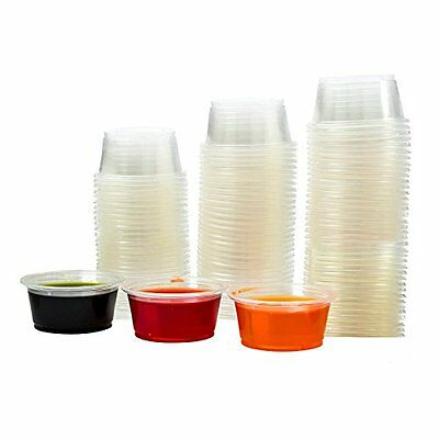 Adorox Cups Clear Plastic Portion Cups w/ Lids Condiment Dips Jello Shots (2 oz