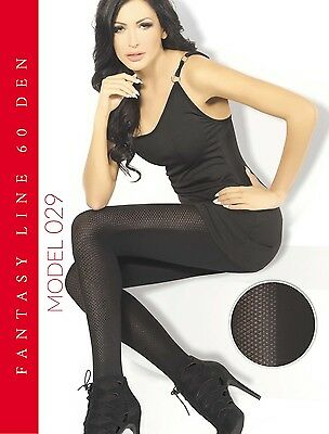 "WOMEN LADIES BLACK PATTERNED TIGHTS 60 Denier  ""Model 029"" SIZE M-XXL**"