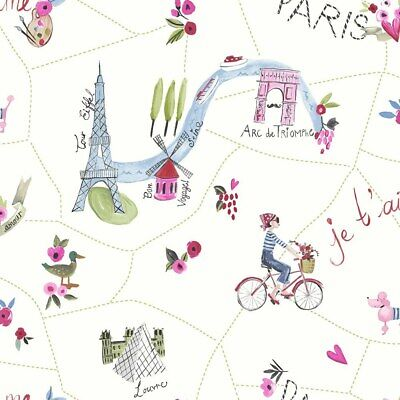 Arthouse Paris With Love White Multi Wallpaper 696105. Kids Girls Glitter Pink