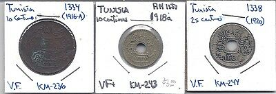 TUNISIA - Three (3) Circulated Coins of Tunisia - All nice Very Fines!