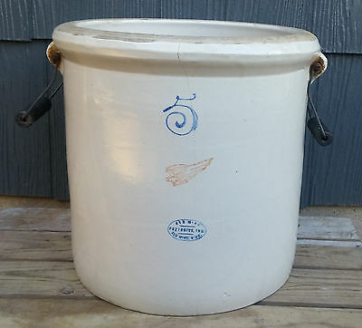 Vintage 5 Gallon Red Wing Stonware Crock with Bail Handles, No Chips!