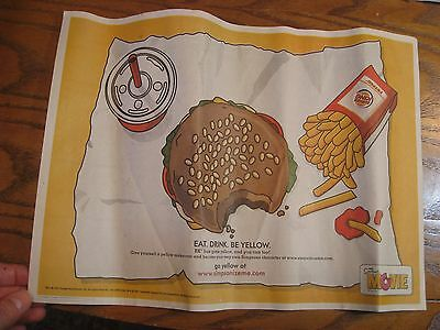 Burger King - The Simpsons -  Tray Liner - New - Nutrition Guide - 2002