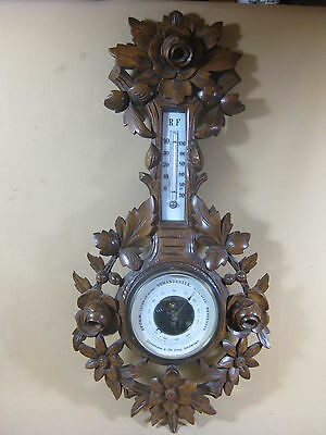 Large Antique Hand Carved Barometer Weather Station