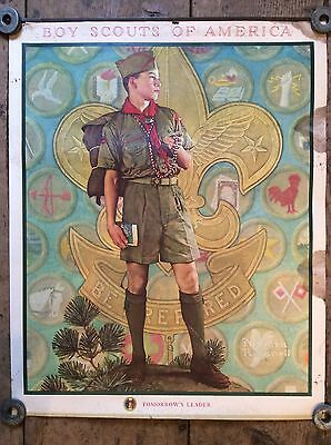 Orig 1959 Norman Rockwell Poster Boy Scouts Of America Poster Tomorrows Leader