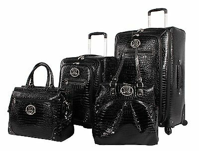 NEW Kathy Van Zeeland Croco PVC Luggage Set 4 Piece Expandable Spinner Suitcase