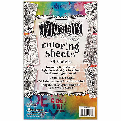 """Dyan Reaveley's Dylusions Coloring Sheets 5""""X8""""- 2 Each Of 12 Designs"""