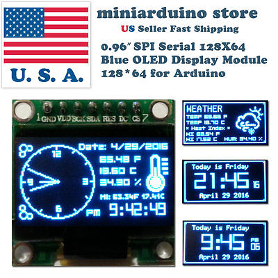 0.96″ SPI Serial 128X64 OLED LCD LED Display Module 128*64 BLUE SSD1306 Arduino