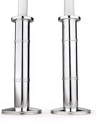 """Kate Spade POMPANO POINT Candlestick Holders Pair Silverplated 8"""" H. Bamboo New"""