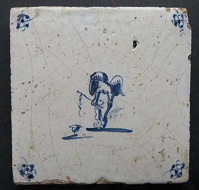 Eighteenth Century Blue & White Delft Tile - Fishing Angel