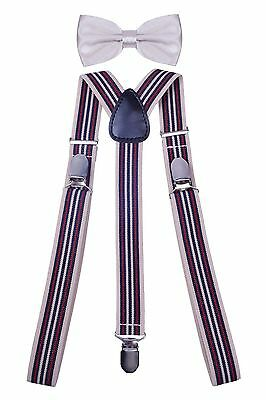 WDSKY Mens Braces for Trousers Leather Suspenders and Bow Tie Set