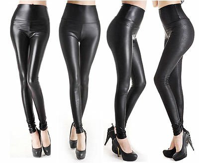 Womens Leggings High Waisted Faux Leather Legging Pants Pant BLACK - 4 STYLES