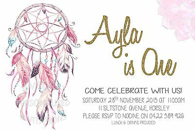 Girl Dreamcatcher Invite Party Invitation Birthday Indian Native Boho 1st First