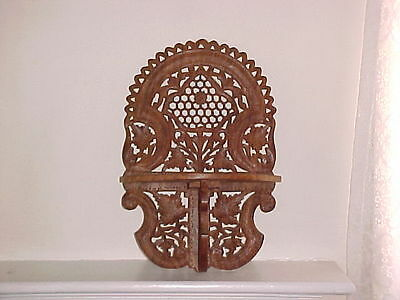 Antique Hand Carved ~ Ornate Foldable TOP QUALITY Brown Wooden Shelf