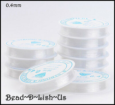 Stretch Crystal Elastic Thread 0.4mm Thick beading DIY jewellery CLEAR -10m Roll