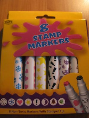 Stamp Markers 8 pack with assorted colours and designs free post