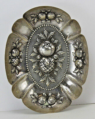 Antique German Repousse Fruit 800 Sterling Silver Dish Tray 80 grams