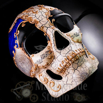 Mens Venetian Short Nose Theater Masquerade Mask with Crackle Paint [Silver]