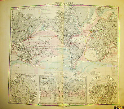 1878 Original Antique Map of The World