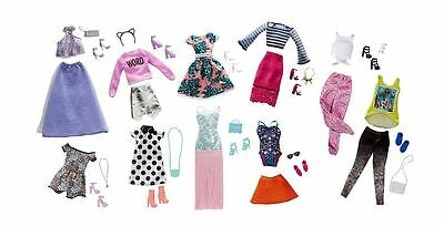 Barbie Pink Passport Fashion Doll Outfits 10 Complete Look Pack Style Glam Trend