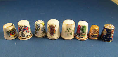 Porcelain Thimble Set of 8 Metal Thimble Travel Souveniers Great Britain Ireland