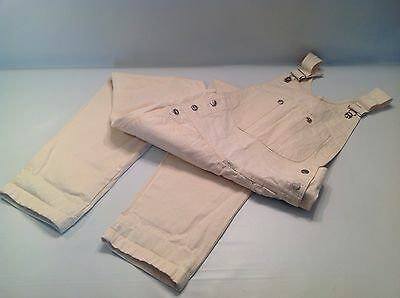 Vintage Marithe Francois Girbaud 100% Cotton Natural Cream Denim Bib Overalls
