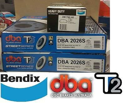 DBA T2 FRONT SLOTTED ROTORS & BENDIX HD PADS suit HOLDEN VE & VF 6 CYLINDER