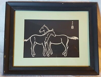 "Vintage (1960's) Japanese Woodblock Print ""Two Horses"" by Sonan Noda Framed"