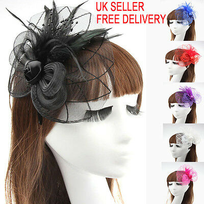 Beaded Feather Hair Fascinator Hair Clip Headband Mess Wedding Royal Races