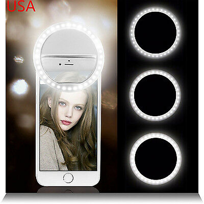 For Samsung Galaxy S6 S7 - White Selfie 36 LED Ring Flash Fill Light Clip Camera