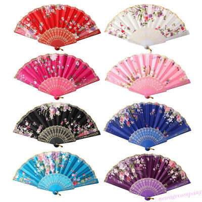 Vintage Flower Hand Held Folding Fan Chinese Dance Party Fancy Ball Pocket Gift