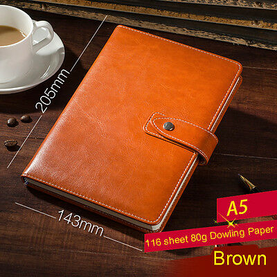 NEW Brown PU Leather Lined Paper Diary Journal Business Notebook to Write in A5