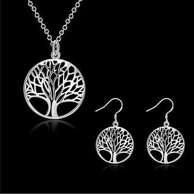 "New 925  Silver Plated Round Tree Of Life Pendant Necklace with 18"" chain"