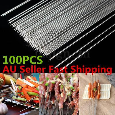 100 Pcs Stainless Steel BBQ Skewers Stick Grill Barbecue Needle Kebab Party 29cm