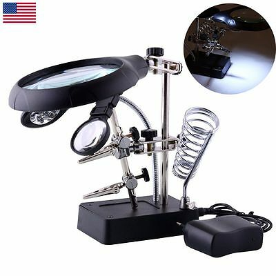 Magnifying Soldering Base Stand LED Light Helping Hand Magnifier Clamp Glass 3rd