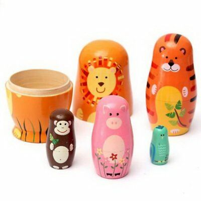 Wooden Russian Nesting Babushka Matryoshka 5 Dolls Set Hand Painted Toys Gifts