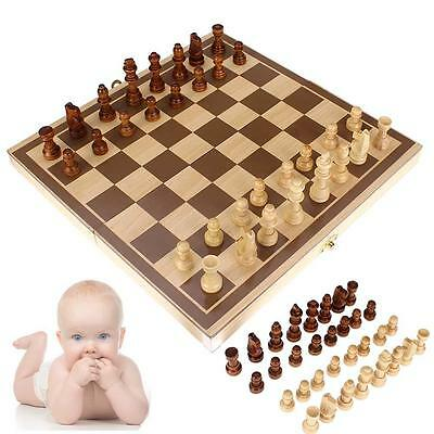 3D Wooden Pieces Chess Set Folding Board Box Wood Hand Carved Gift Kids Toys YA