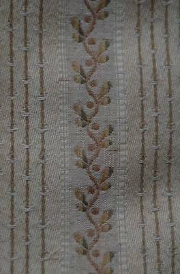 Antique French woven brocade curtain fabric, beige, cream and olive