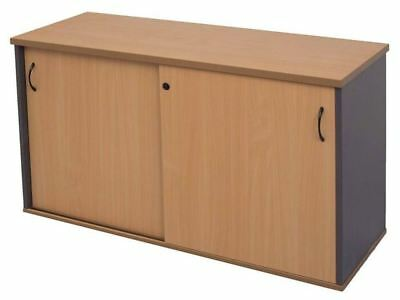 Rapid Worker Sliding Door Credenza Adj Shelves Lockable 2 Keys 3 Sizes