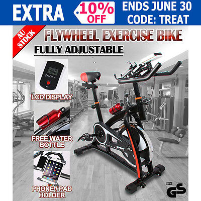 New Spin Commercial Flywheel Bike Adjustable LCD Display Exercise Home Fitness