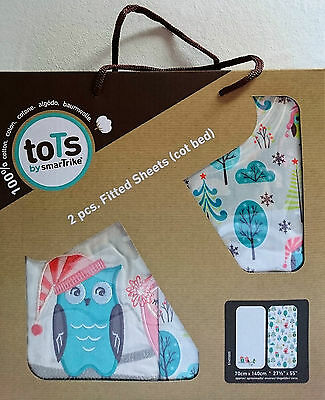 toTs by smarTrike | Joy 100% Cotton Sateen Fitted Owl Sheets | 2 Pack | Cot Bed