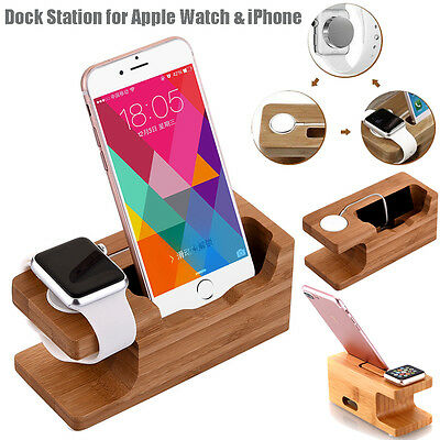 Bamboo Charging Dock Station Charger Mount Stand For Apple Watch iPhone 6 7 Plus