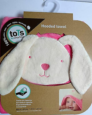 toTs by smarTrike | Joy Bunny Hooded Towel | Pink | 100% Cotton