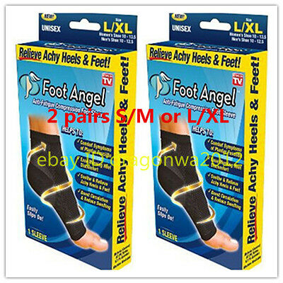 Foot Angel Anti Fatigue Compression 2 Pair Ankle Swelling Plantar Relief S/M LXL