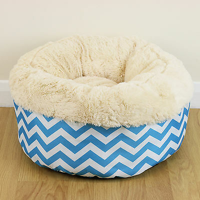 Super Cosy Warm Washable Small Blue Cat/Kitten Soft Round Snug Donut Pet Bed