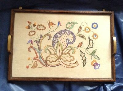 Cross Stich Sampler Tray with Glass Top & Brass Handles